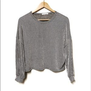 Caution to the Wind Black & white Striped Sweater